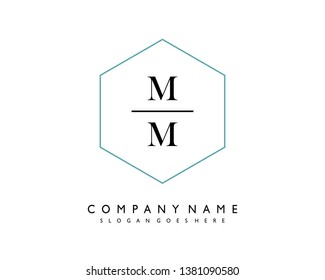 initials letter MM handwriting logo vector template