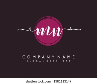initials letter MN handwriting logo vector template