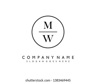 initials letter MW handwriting logo vector template