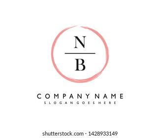 initials letter NB handwriting logo vector template