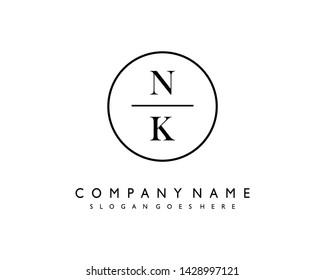 initials letter NK handwriting logo vector template