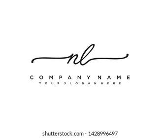 initials letter NL handwriting logo vector template