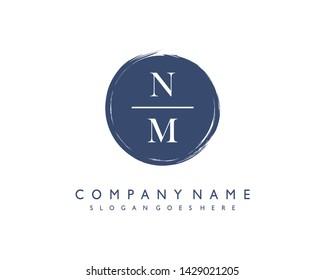 initials letter NM handwriting logo vector template