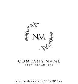 initials letter NM handwriting logo vector template