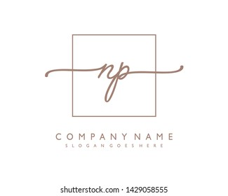 initials letter NP handwriting logo vector template