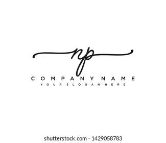 initials letter NP handwriting logo vector template