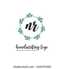 initials letter NR handwriting logo vector template