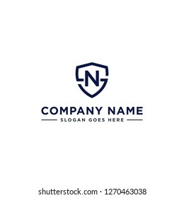 Initials Letter NS or SN linked overlapping Logo vector with letter N in the middle center of letter S shield badge-shape icon in blue deep color illustration