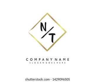 initials letter NT handwriting logo vector template