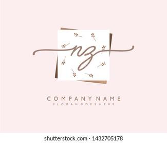 initials letter NZ handwriting logo vector template