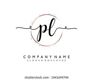 initials letter PL handwriting logo vector template