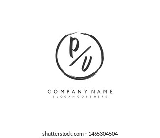 initials letter PV handwriting logo vector template