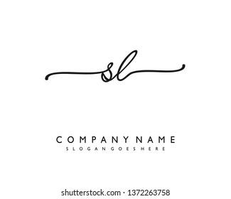 initials letter SL handwriting logo vector template