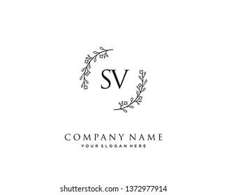 initials letter SV handwriting logo vector template