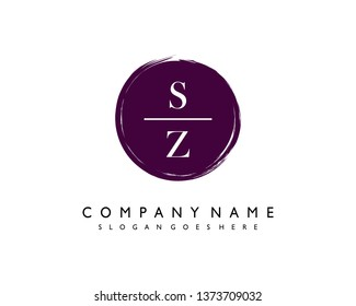 initials letter SZ handwriting logo vector template