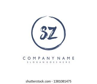 initials letter SZ handwriting logo vector template