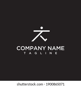 Initials letter T people runner vector line logo design