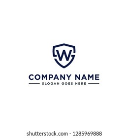 Initials Letter WS or SW linked overlapping Logo vector with letter W in the middle center of letter S shield badge-shape icon in blue deep color illustration