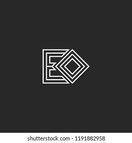 Initials letters EO or OE monogram logo minimal style lines art, initials E and O identity hipster emblem mockup