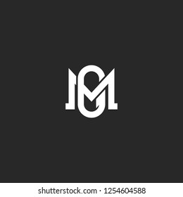 Initials letters MG or GM logo monogram, two intersection letters M and G emblem, weaving symbol minimalist style art
