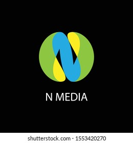 the initials logo letter N with straightforward color gradations is suitable for the design of a media company's logo and can be used for other designs