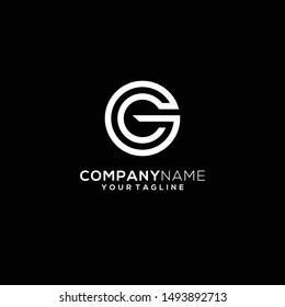 initials modern black and white gc / cg logo