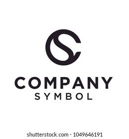 Initials Monogram CS SC Letter Circular Yin Yang logo design