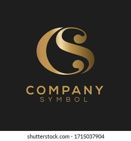 Initials Monogram CS SC Letter logo design.Minimal elegant CS black and gold color initial based letter icon logo