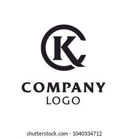 Initials Monogram Letter C K, KC, CK, logo design