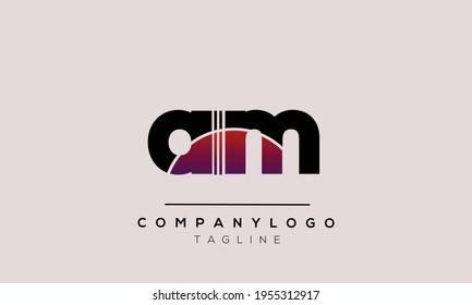 AM initials monogram letter text alphabet logo design