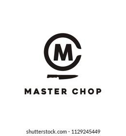 Initials Monogram MC CM with Knife Chef Chop logo design