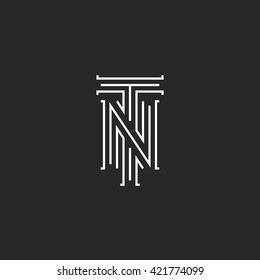 Initials NT letters logo, hipster monogram boutique emblem, compound T N letters for wedding invitation, combination TN symbol for business card