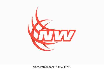 Initials NW globe. Vector company logotype