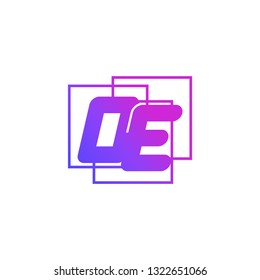 The initials O and E colored gradient combination of blue and pink. OE vector design logo