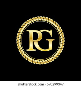 initials p and g logo luxurious golden letters with gold rope