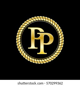 initials p and p logo luxurious golden letters with gold rope