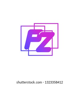 The initials P and Z colored gradient combination of blue and pink. PZ vector design logo