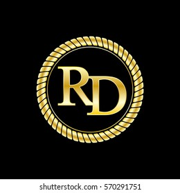 initials r and d logo luxurious golden letters with gold rope