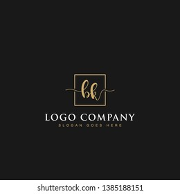 Initials signature letters BK linked inside minimalist luxurious square line box vector logo gold color designs for brand, identity, invitations, hotel, boutique, jewelry, photography or company signs
