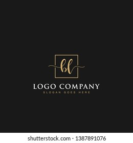 Initials signature letters BL linked inside minimalist luxurious square line box vector logo gold color designs for brand, identity, invitations, hotel, boutique, jewelry, photography or company signs