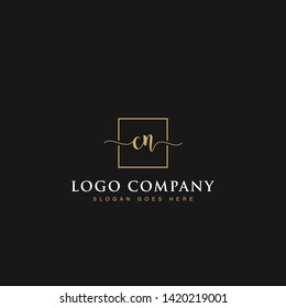 Initials signature letters CN linked inside minimalist luxurious square line box vector logo gold color designs for brand, identity, invitations, hotel, boutique, jewelry, photography or company signs