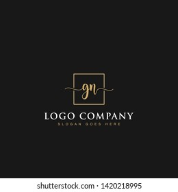 Initials signature letters GN linked inside minimalist luxurious square line box vector logo gold color designs for brand, identity, invitations, hotel, boutique, jewelry, photography or company signs