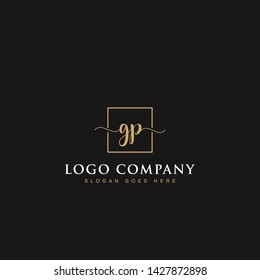 Initials signature letters GP linked inside minimalist luxurious square line box vector logo gold color designs for brand, identity, invitations, hotel, boutique, jewelry, photography or company signs