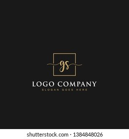 Initials signature letters GS linked inside minimalist luxurious square line box vector logo gold color designs isolated in black background for brand, hotel, boutique, jewelry, restaurant or company