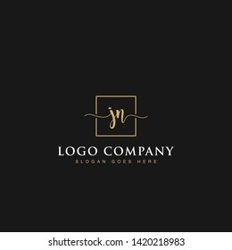 Initials signature letters JN linked inside minimalist luxurious square line box vector logo gold color designs for brand, identity, invitations, hotel, boutique, jewelry, photography or company signs