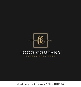 Initials signature letters LK linked inside minimalist luxurious square line box vector logo gold color designs for brand, identity, invitations, hotel, boutique, jewelry, photography or company signs