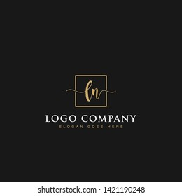 Initials signature letters LN linked inside minimalist luxurious square line box vector logo gold color designs for brand, identity, invitations, hotel, boutique, jewelry, photography or company signs