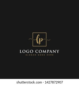 Initials signature letters LP linked inside minimalist luxurious square line box vector logo gold color designs for brand, identity, invitations, hotel, boutique, jewelry, photography or company signs