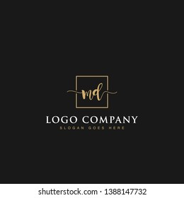 Initials signature letters MD linked inside minimalist luxurious square line box vector logo gold color designs for brand, identity, invitations, hotel, boutique, jewelry, photography or company signs