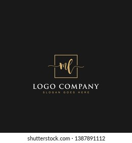 Initials signature letters ML linked inside minimalist luxurious square line box vector logo gold color designs for brand, identity, invitations, hotel, boutique, jewelry, photography or company signs